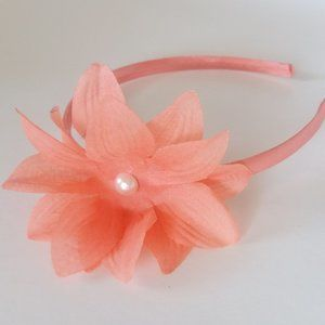 Coral Flower Headband, Chiffon Flower Headpiece 🌸